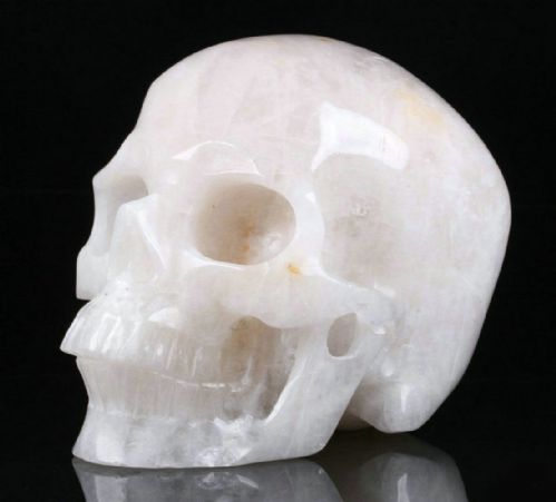 "Snow Quartz Realistic Carved Gemstone Crystal Skull 5"" Inch SK135"